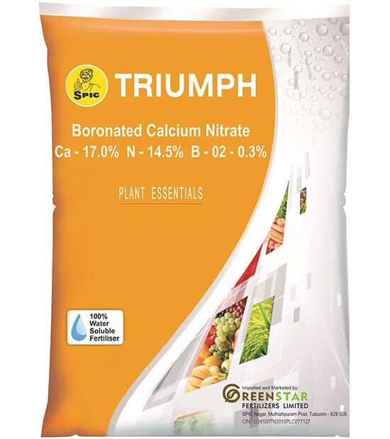 SPIC Triumph: Boronated Calcium Nitrate (Ca 17.0% N 14.5% B 0.2-0.3%)